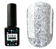 Гель-лак Kira Nails Shine Bright №001 серебро с блестками 6 мл