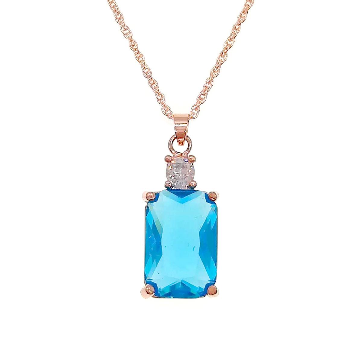 Підвіска на ланцюжку SONATA з медичного золота, блакитний фіаніт, позолота PO, 42085 (1)