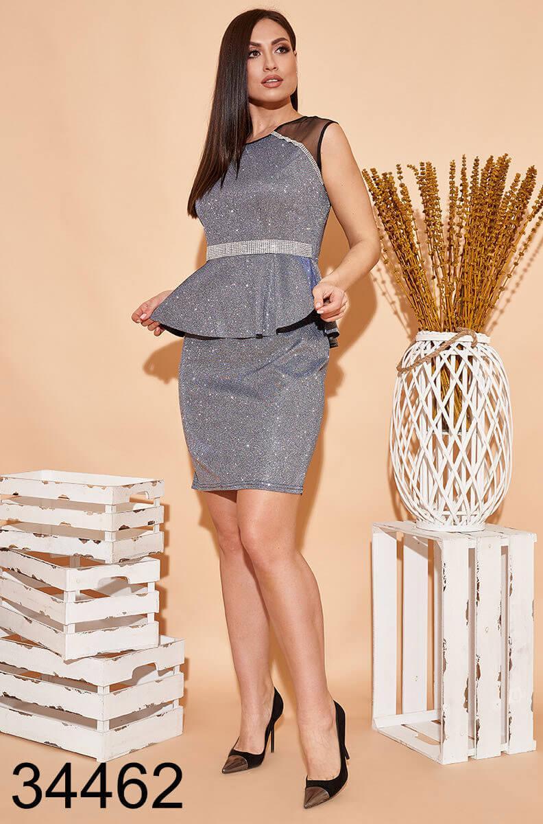 Вечернее блестящее платье с баской р. 42-44, 44-46, 48-50, 50-52