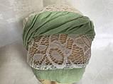 Летняя косынка-шапка-чалма гипюровая  цвет белые с салатовым жгутом, фото 2