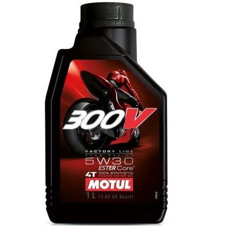 Масло для 4-х тактных двигателей 100% синтетическое MOTUL 300V 4T Factory Line Road Racing SAE 5W30 1л. 104108