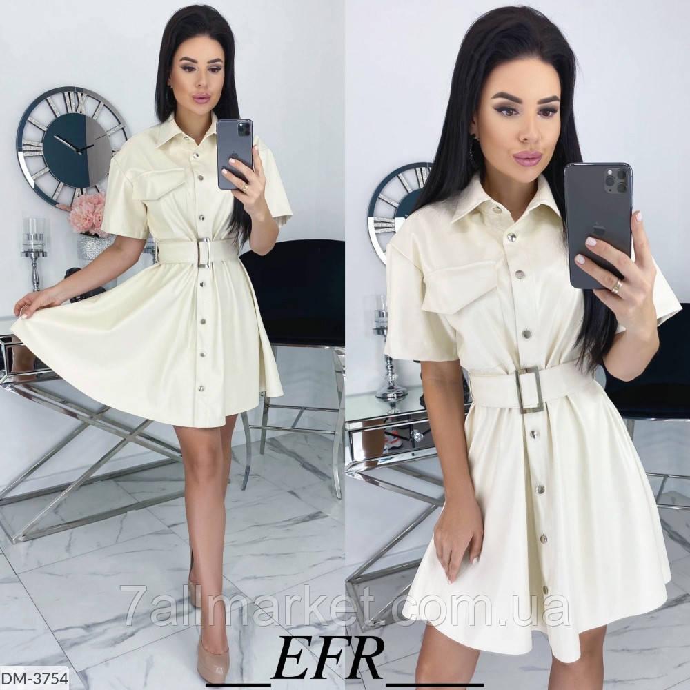 """Сукня-сорочка жіноча еко-шкіра мод. 498 (L-XL, S-M) """"EBA"""" недорого від прямого постачальника"""
