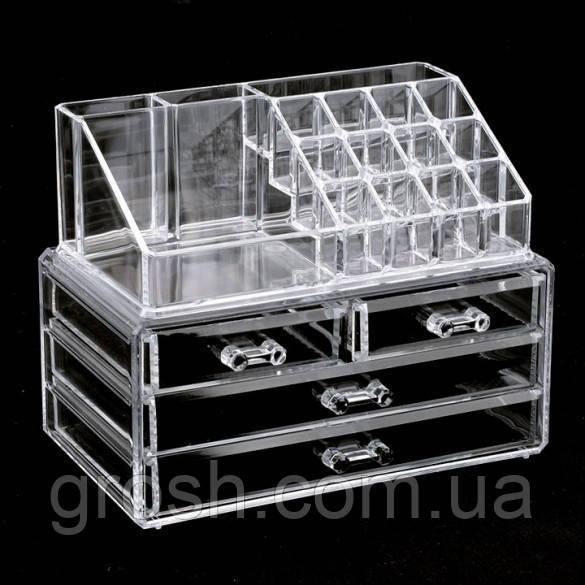 Акриловый органайзер для косметики настольный Cosmetic Box  Drawer