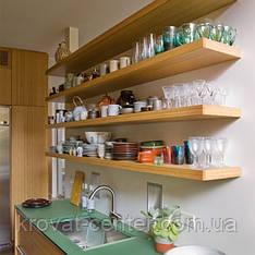 Навесная деревянная полка для кухни с невидимым крепежом от производителя