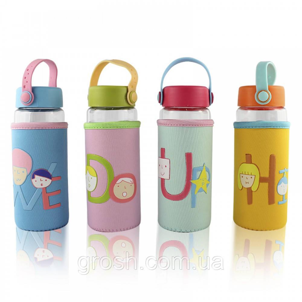 Бутылочка для воды в тканевом чехле c силиконовой крышкой и ручкоу Face Letters