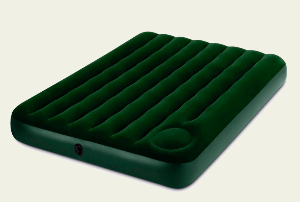 Надувной велюровый матрас-кровать Intex 64762 зеленый с ножным насосом