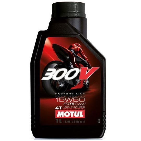 Масло для 4-х тактних двигунів 100% синтетичне MOTUL 300V 4T Factory Line Road Racing SAE 15W50 1л 104125