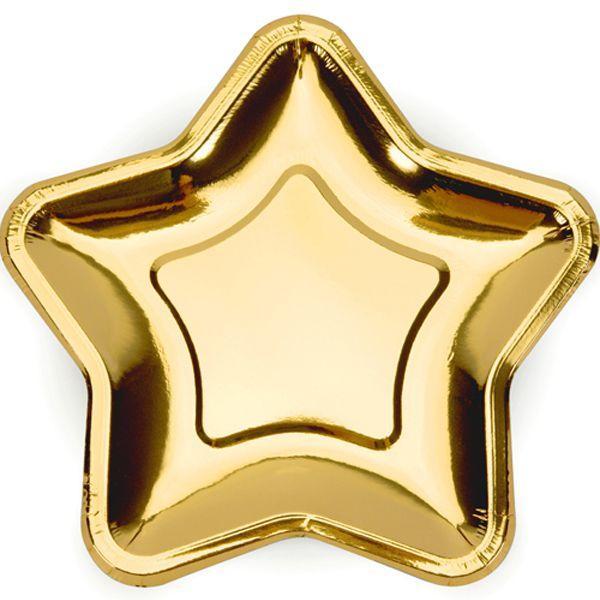 3502-3653 Тарелка фольга Звезда золот 23см