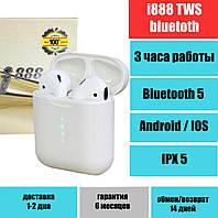 Наушники i888 TWS Black оригинал, сенсорные, беспроводные bluetooth гарнитура, полный комплект, качество, фото 1