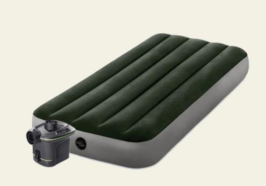 Надувной велюровый матрас-кровать Intex 64777 зеленый