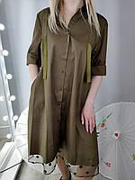 Платье А-силуэта цвета хаки(L0043)