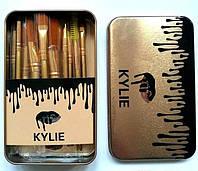 Кисточки для макияжа Kylie professional brush set 12 штук золото
