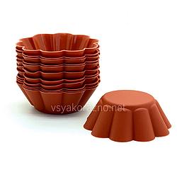 """Силиконовая форма для выпечки кексов """"Волна"""" набор / Силіконова форма для випічки (12 шт) коричневый"""