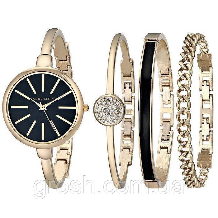 Часы в подарочной упаковке watch set ANNE KLEIN Roze gold black