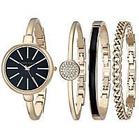 Часы в подарочной упаковке watch set ANNE KLEIN Roze gold black, фото 1