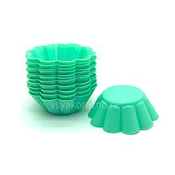 """Силиконовая форма для выпечки кексов """"Волна"""" набор / Силіконова форма для випічки кексів (12 шт) зеленый"""