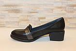 Туфли женские черные на удобном каблуке натуральная кожа Т074, фото 2