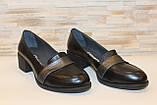 Туфли женские черные на удобном каблуке натуральная кожа Т074, фото 3