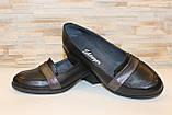 Туфли женские черные на удобном каблуке натуральная кожа Т074, фото 4