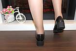 Туфли женские черные на удобном каблуке натуральная кожа Т074, фото 6