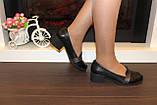 Туфли женские черные на удобном каблуке натуральная кожа Т074, фото 7