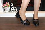Туфли женские черные на удобном каблуке натуральная кожа Т074, фото 8