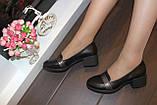 Туфли женские черные на удобном каблуке натуральная кожа Т074, фото 9