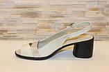 Босоножки женские бежевые на небольшом каблуке натуральная кожа Б340, фото 2