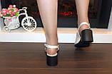 Босоножки женские бежевые на небольшом каблуке натуральная кожа Б340, фото 3