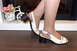 Босоножки женские бежевые на небольшом каблуке натуральная кожа Б340, фото 4