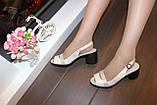 Босоножки женские бежевые на небольшом каблуке натуральная кожа Б340, фото 5