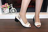 Босоножки женские бежевые на небольшом каблуке натуральная кожа Б340, фото 6