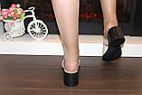 Шлепанцы женские бежевые на каблуке натуральная кожа Б345, фото 3