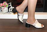 Шлепанцы женские бежевые на каблуке натуральная кожа Б345, фото 4