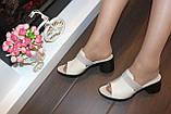 Шлепанцы женские бежевые на каблуке натуральная кожа Б345, фото 5