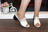Шлепанцы женские бежевые на каблуке натуральная кожа Б345, фото 6