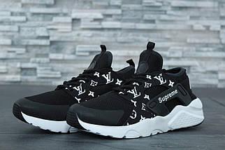 Женские черные Кроссовки Nike Air Huarache SupremeLouis Vuitton
