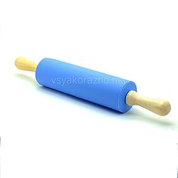 Силиконовая скалка с деревянными ручками 42 см / Силіконова скалка з дерев'яними ручками (голубой)