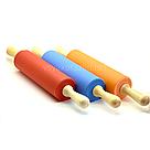 Силиконовая скалка с деревянными ручками 42 см / Силіконова скалка з дерев'яними ручками (голубой), фото 3