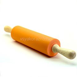 Силиконовая скалка с деревянными ручками 42 см / Силіконова скалка з дерев'яними ручками (оранжевая)