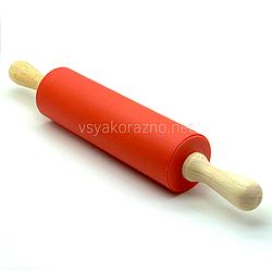 Силиконовая скалка с деревянными ручками 42 см / Силіконова скалка з дерев'яними ручками (красный)