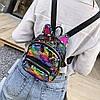 Женский мини рюкзак с пайетками и с ушками 🎁 В подарок браслет и кукла, фото 7