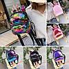 Женский мини рюкзак с пайетками и с ушками 🎁 В подарок браслет и кукла, фото 8