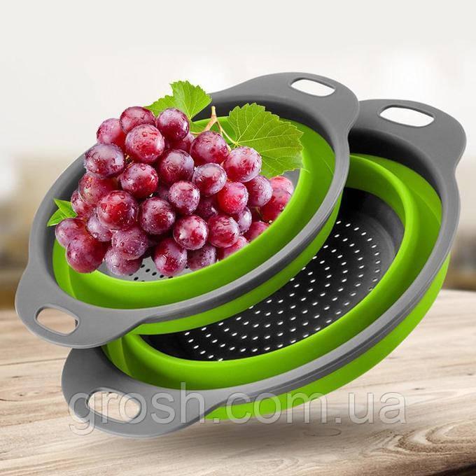 Дуршлаг силиконовый складной большой + маленький Collapsible filter baskets