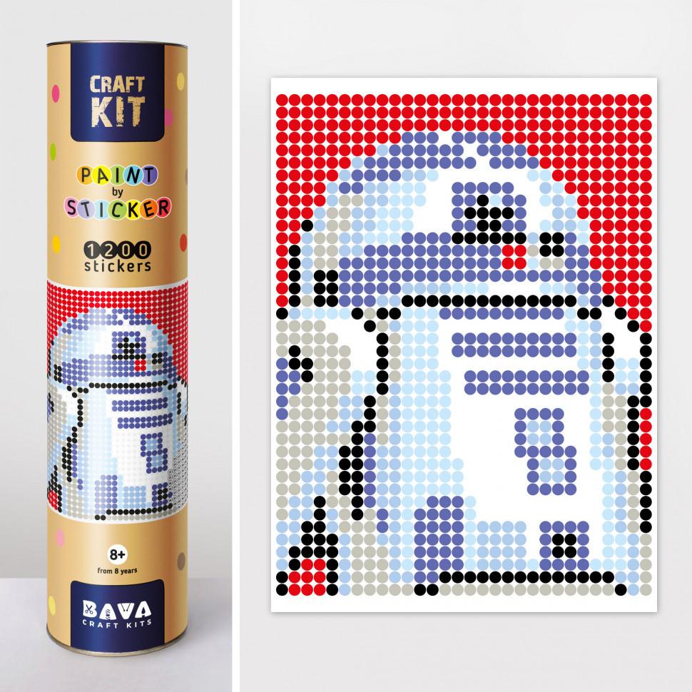 """Картина за номерами стікерами в тубусі """"Робот синій"""" (R2D2) , 33х48см, 1200 стікерів. 1876"""