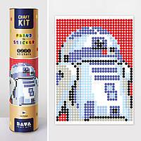"""Картина за номерами стікерами в тубусі """"Робот синій"""" (R2D2) , 33х48см, 1200 стікерів. 1876, фото 1"""