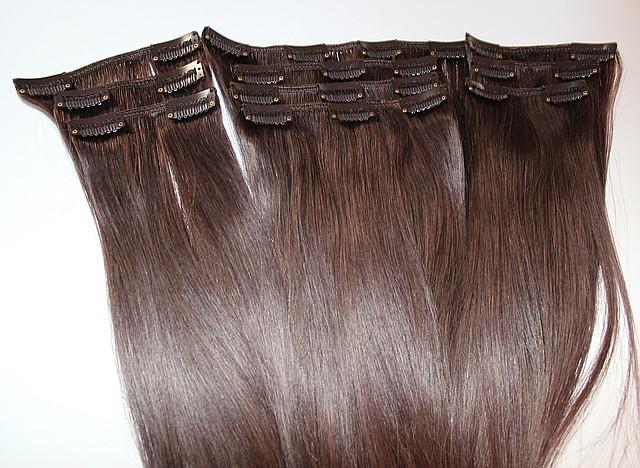 Набор натуральных волос на клипсах 52 см оттенок №900 130 грамм