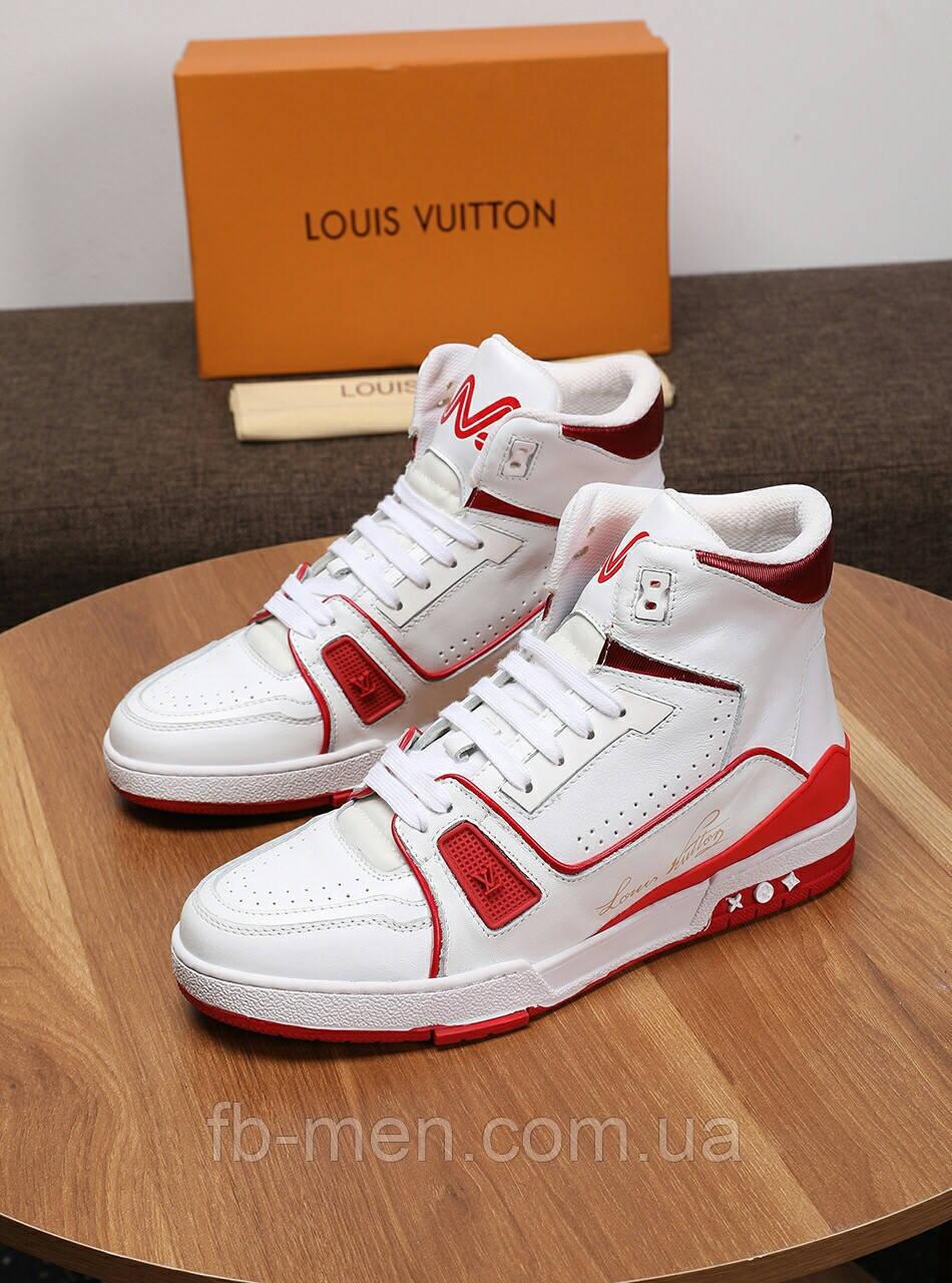 Кроссовки высокие Louis Vuitton Белые кроссовки на липучках Луи Виттон кожаные