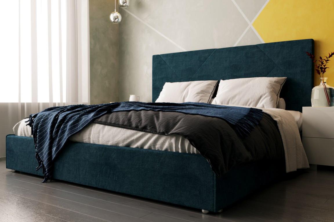 Двуспальная кровать Стори 180 х 200 с мягким изголовьем, двухспальная кровать, кровать, деревянная кровать