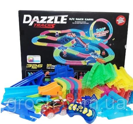 Dazzle Tracks 326 деталей, Гибкая игрушечная дорога, одна машинка с пультом дистанционного управления